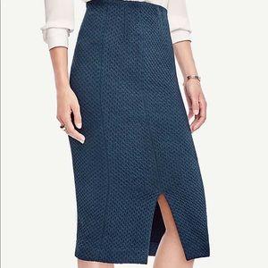 Geo Jacquard Blue Teal Midi Skirt